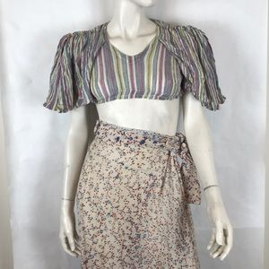 Vintage 70s deadstock candy stripe crop top XXS